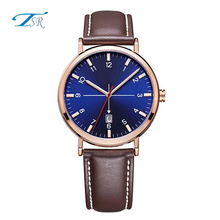 2017 ladies arabic numbers round face women watch with leather strap