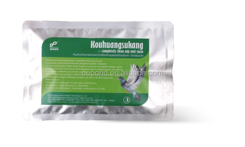 Hydrochloride Vitamin A E ethopabate sodium powder, tablet- tinidazole for pigeon use