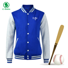 Custom Logo American Style Blue and White Mens Plain Varsity Baseball Jacket