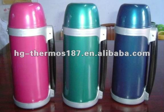 shinning plastic vacuum water bottle with straw pipe stopper