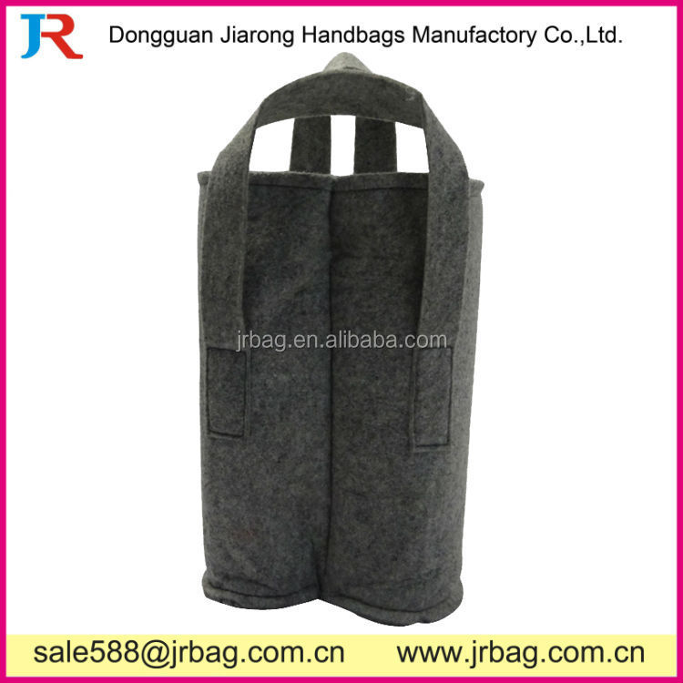 Short handle carrying 2 Bottle Wine Felt Totes Bags