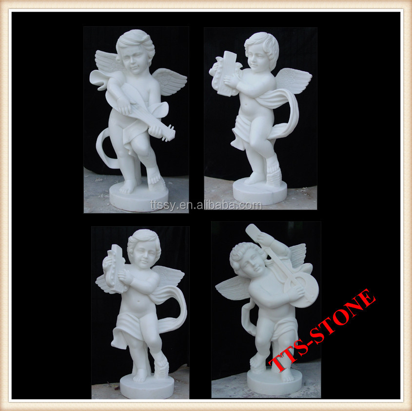 four playing little boy angel marble statue