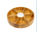 Bamboo Revolving Round Snack Serving Tray With Dividers Supplier