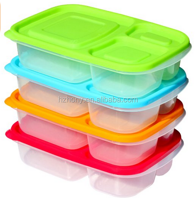 premium bento lunch box containers 3 compartment 4 pack set with lids d. Black Bedroom Furniture Sets. Home Design Ideas