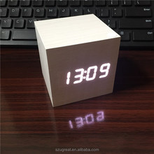 Wooden Alarm Clocks,Desktop Table Digital Watch LED Clocks Temperature Display