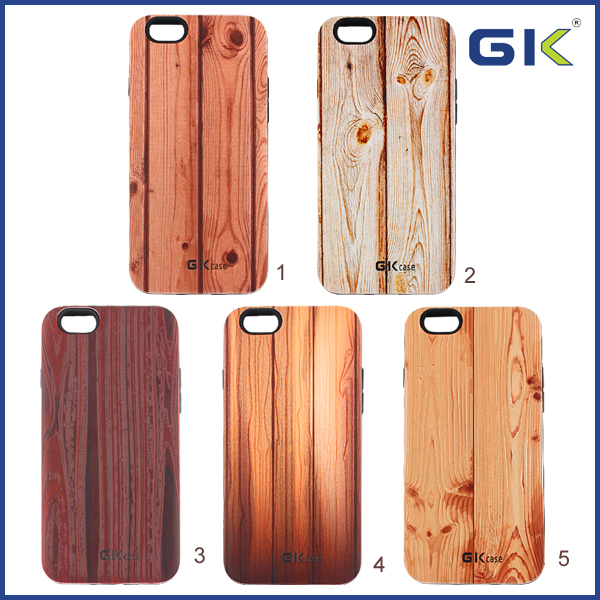 [GGIT] New Wood Grain 3D Relief 2 in 1 TPU+PC Combo Case For IPhone 6 Back Cover