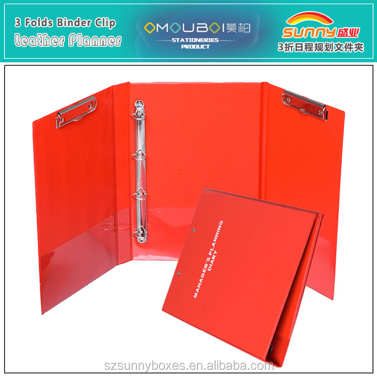 Custom Plastic Managing Dairy Clipboard Folder With Pockets & Ring Binder Clamps