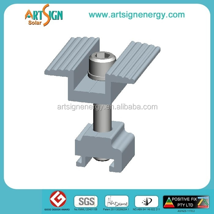 Extruded aluminum solar panel mid clamp with bolt and nut for pv module