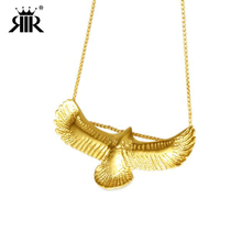 RIR 18K Gold Albanian Eagle Necklace,Stainless Steel Men's Eagle Pendant