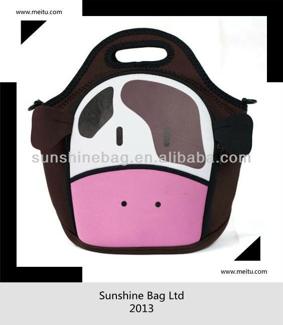 2013 hot selling neoprene lunch tote bag with printing
