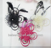 feather hat ornament with glitter decor alligator hair pins and clips