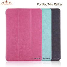 Crazy Horse leather 3 folder standing design PU Case For ipad mini retina 2 smart anti wake/sleep function
