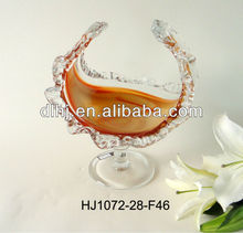 amber colored glassware with base