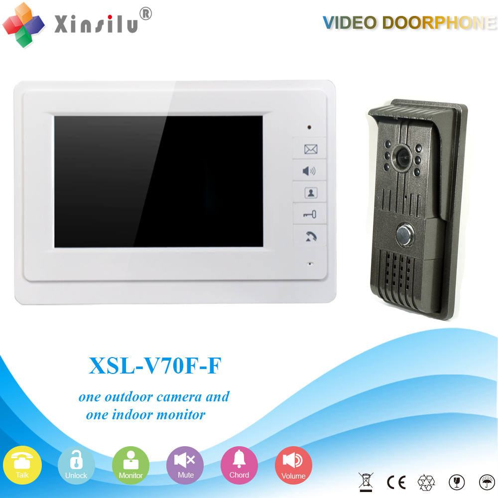 XSL-V70F-F 1V1 XSL smart home 2016 Hot sale 7 inch LCD multi apartment video door phone with video intercom system