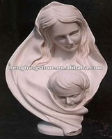 White Marble Mother And Child Bust Statue