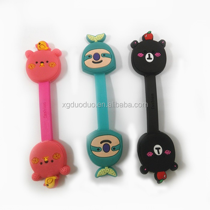 novelty promotional gifts cartoon soft pvc headphones cable tie organizer