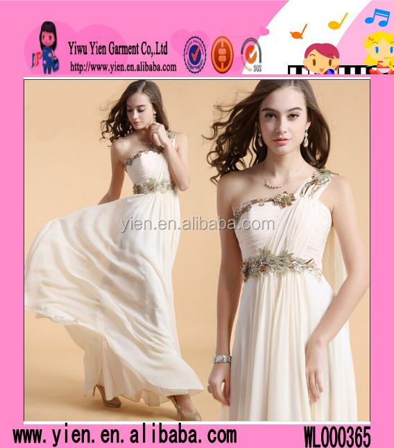 2015 Europe Style Sexy Evening Dress Xxxl Single Shoulder Champagne Ladies Chiffon Evening Prom Dress