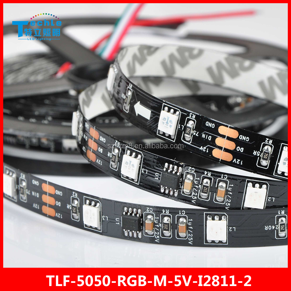 Outer addressable 5050 WS2811 Magic LED STRIP 30 led/m Non waterproof black FPC dream color pattern