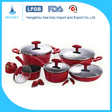 10pcs aluminum red ceramic nonstick forged fry pan/pot cookware set for kitchenware