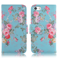 Elegant watercolor flower pattern PU wallet filp cover folio stand leather case for iPhone 5s/ 6s