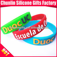 Colorized Embossed Printed Silicone Bracelets