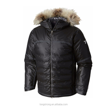 RYH567 black men's zipper with hood down jacket