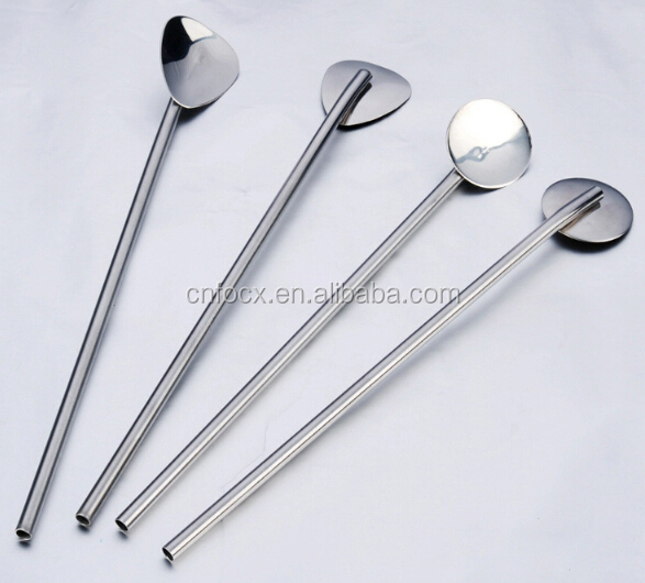 Stainless Steel Straw spoon , drinking spoon straw , coffee spoon
