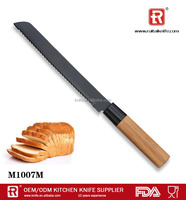 non-stick serrated bread knife cake knife frozen meat knife with wooden handle