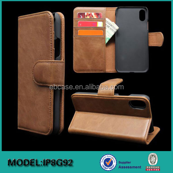 PU Leather Flip Folio Wallet Case with Card Slot, Cash Clip, Stand Holder and Magnetic Closure for iPhone X