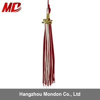 Double Color Red/White Tassel With 2015 Year Charm For Graduation To Cap