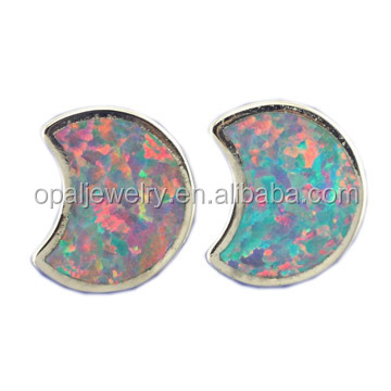 925 sterling silver synthetic opal stud earrings for women with white gold plated