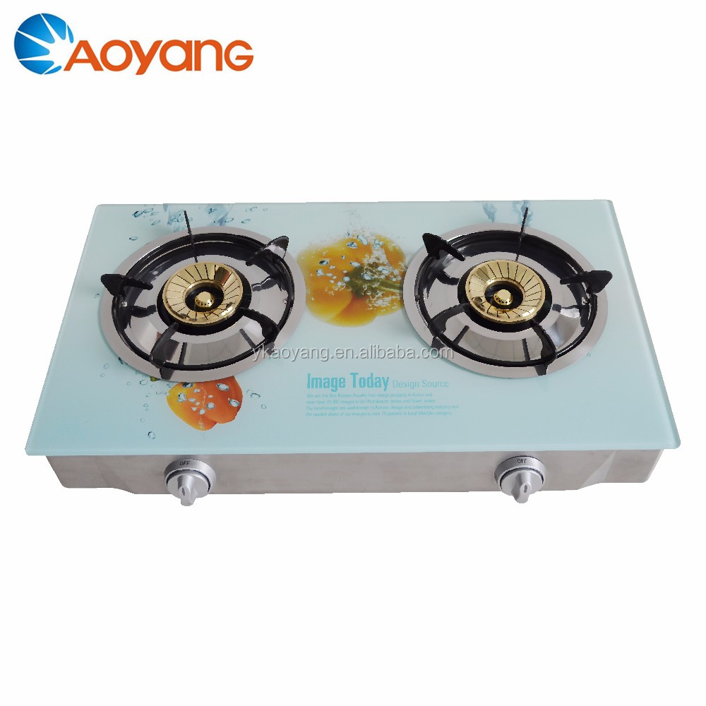 New model gas stove Tempered glass top gas stove with 2 burner