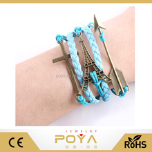 POYA Jewelry New Hot Sell Arrow Tower Cross Hand Weave Beautiful DIY Retro Fashion Leather Cord Bracelet