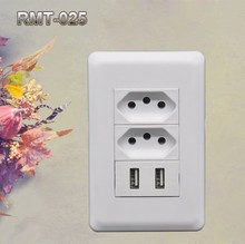 Promotion !Wall Socket Type and Standard Grounding Grounding brazil power strip with 2usb port