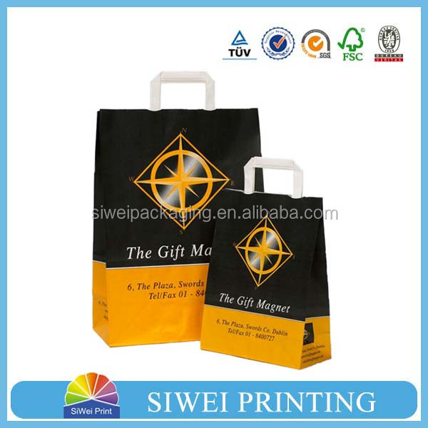 Full color printed white kraft food paper bag with flat paper handle