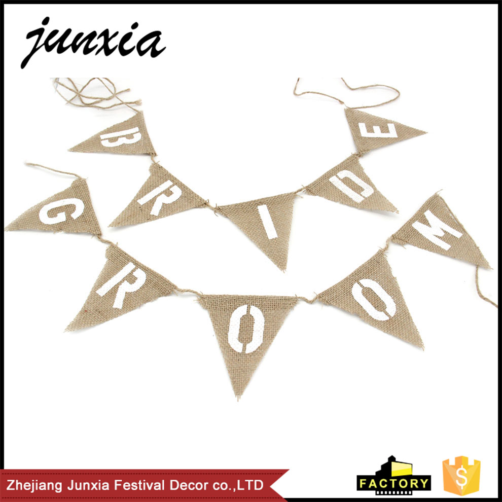 Junxia Bride&Groom Hessian Burlap Bunting Banner Romantic Wedding Decor