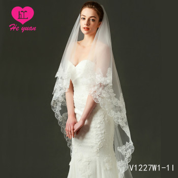 V1227W1-1 Elegant bridal veil with embroidery lace wedding veil