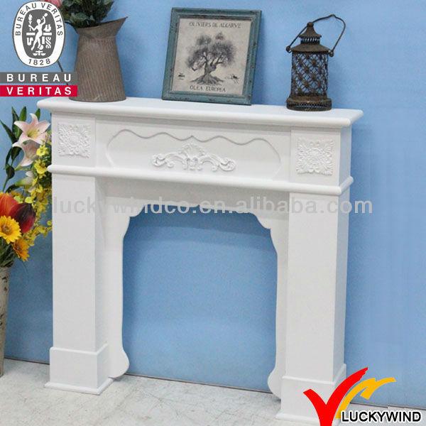 Hermoso blanco shabby chic chimeneas decorativas de madera - Chimeneas decorativas en madera ...