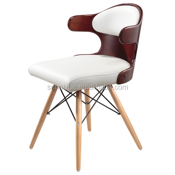 2016 Popular white leather cushion plywood chair with wooden leg HY2022-1