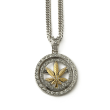 china wholesale long chain hiphop bling rhinestone crystal iced out weed leaf round plate pendant necklace