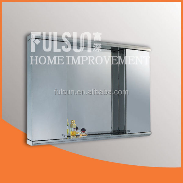 Wall Mounted Illuminated Stainless Steel Living Room Mirror Cabinet Furniture