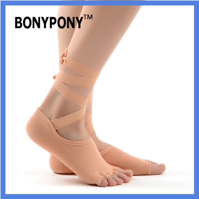 Bonypony hotsale custom branding high quality Women's Ballet style with band Grip yoga Sock for Barre Pilates Yoga