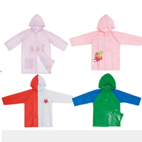 Eco-friendly passed 6p test PVC kids raincoats with customized printing logo foldable easy to carry