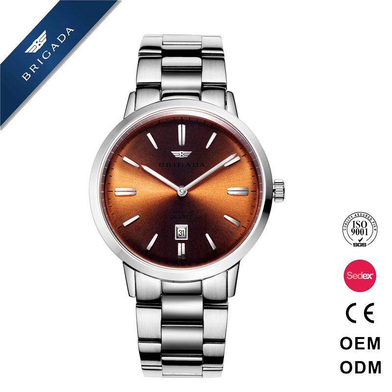 Super thin domed sapphire crystal man watch all solid stainless steel Japan movement business watch