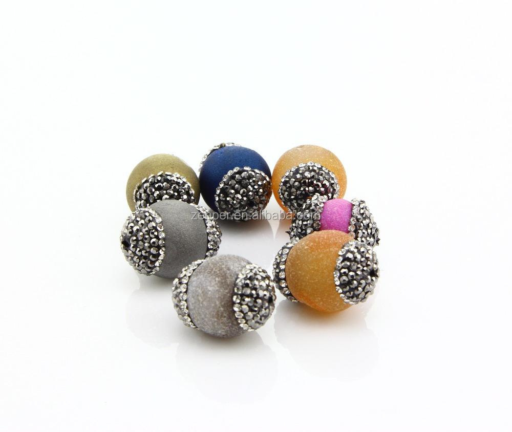Mixed Color Nature Agate Druzy Quartz Geode Stone Ball Pendant, Pave Crystal Rhinestone , For Jewelry Finding