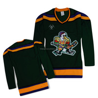 Embroidered logo Tackle Twill name and number high quality green anaheim ducks ice hockey jersey for game
