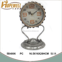 antique silver foil metal table top clock