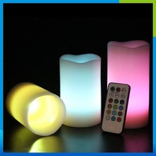 2015 Real Wax Remote Controlled Flameless Candles Vanilla Color Change Scented LED Remote Control Decorative Led Candle