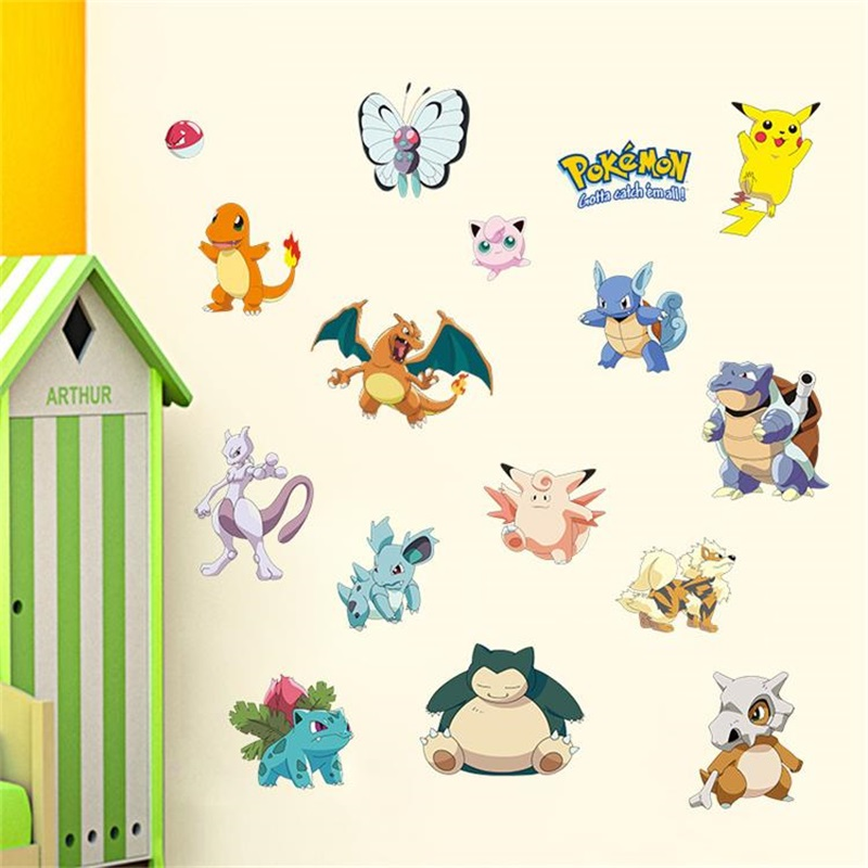 Fashion Cartoon Wall Stickers Pokemon Pikachu Bulbasaur Pattern Vinyl Decal For Baby Kids' Room Mural Art Wall Decoration Poster