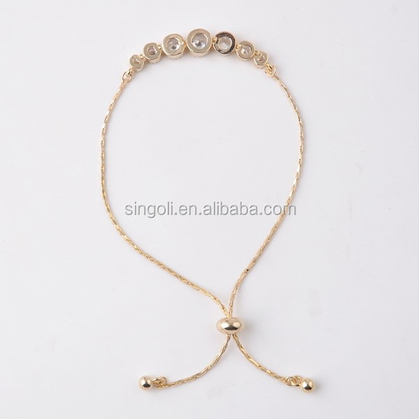 Designer Fashion White CZ Stone Gold Circle Brass Bracelet Costume Jewelry Wholesale Raw Stone